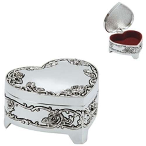 Heart Shaped Silver Plated Trinket Box