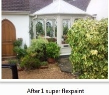 After 1 Front, Open feel expensive looking conservatory transformed, 3 coats of coloured super flex woodstain does not flake blister and gives solid colour in 100`s of colours.