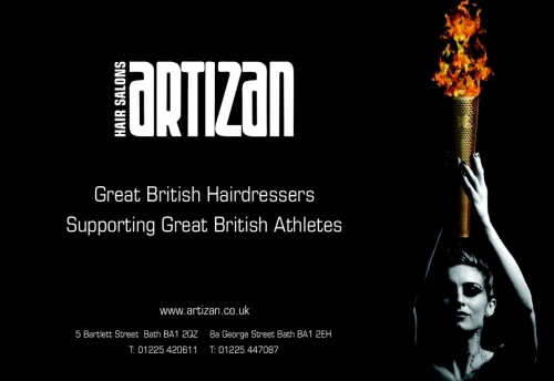 Advert with Amy Williams holding the olympic torch.
