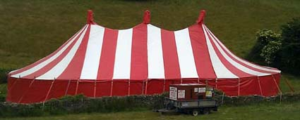 red and white tent  hire in devon