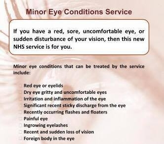 We are part of the minor eye conditions service