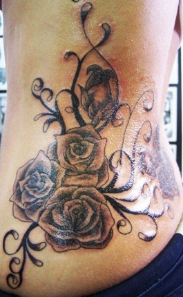 West Coast Tattoos' Black & Grey work by Blan. Roses and vines.