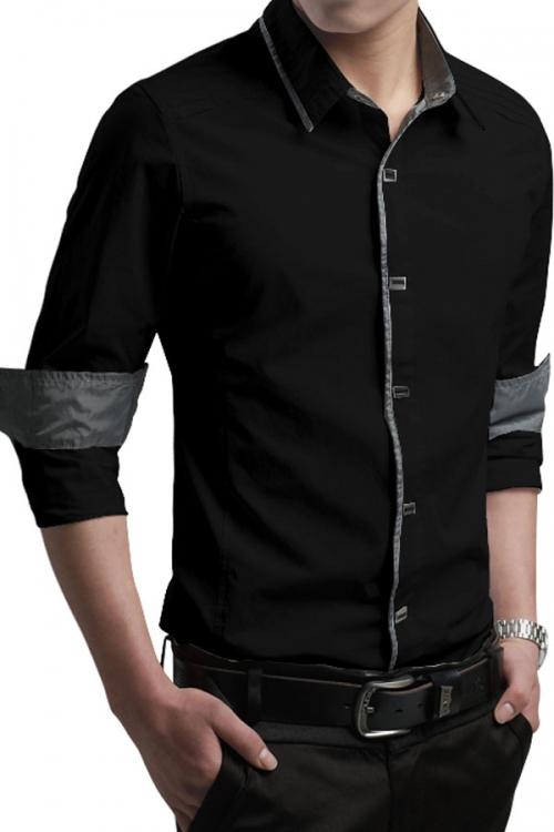 Classy Trim Long-sleeve Mens Shirt