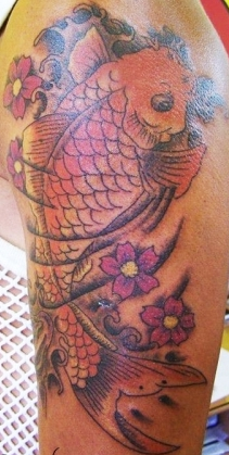 West Coast Tattoos' Colour work by Blan. Koi carp.