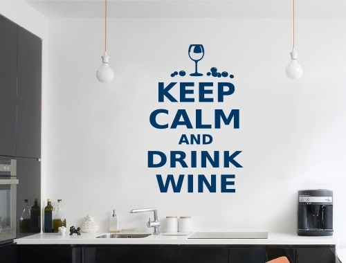 Keep Calm And Drink Wine Vinyl Wall Sticker