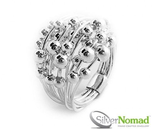 925 Sterling Silver Sphere Cluster Ring by Silver Nomad Jewellery UK