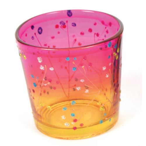 Glass Tealight Holder, Pink & Yellow