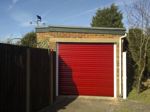 Red Insulated Roller Garage Door