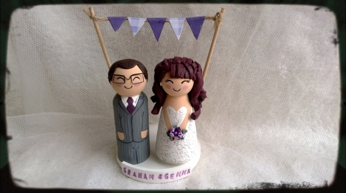 Personalised Wood and Clay Bride and Groom Wedding Cake Toppers Kent
