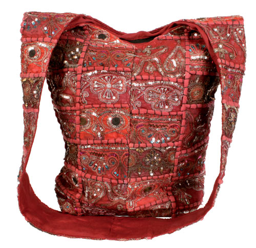 Recycled Sari Cross Body Bag, Red