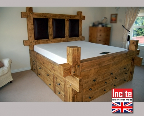 Chunky Plank Bed with opening drawers handmade by Incite Interiors Derbyshire