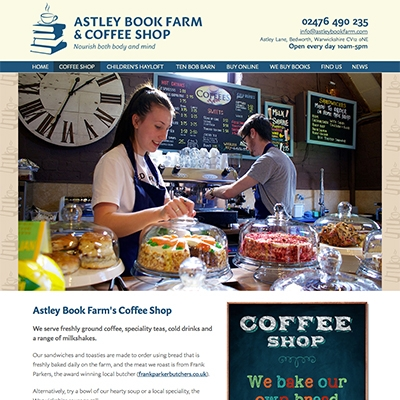 Astley Book Farm, Bedworth - branding, photography, print, website design and build, content management system (CMS)