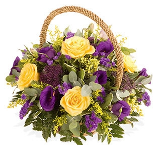 traditional basket arrangement in any colour same day delivery