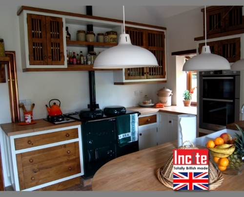 Rustic Country Painted And Wooden Kitchen custom made by Incite Interiors Draycott Derbyshire