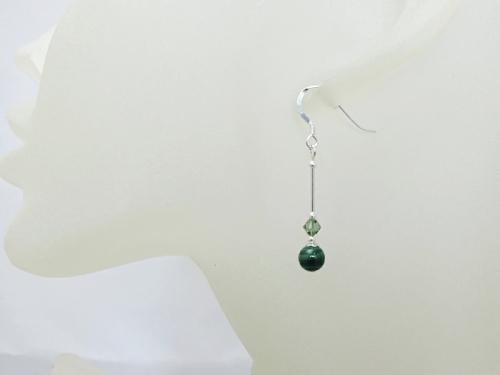 Natural Dark Green Malachite Earrings