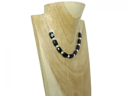 Designer Blue Goldstone White Pearls Sterling Silver Chain Necklace