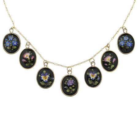 Antique Painted Enamel Necklace